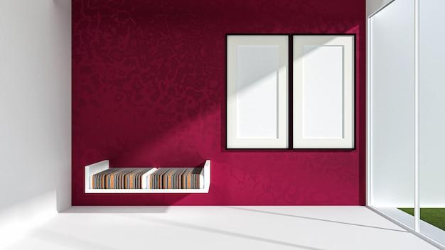 3d geef van woonkamer terug en whiteboard op de muur, woonkamer