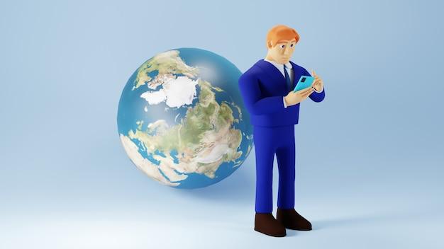 3d geef van zakenman en wereld terug. zakelijk online mobiel en e-commerce.