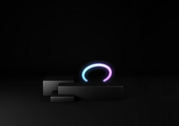 3d geef van zwarte stadium en neoncirkel terug. producten in de kijker. neon cyberpunk
