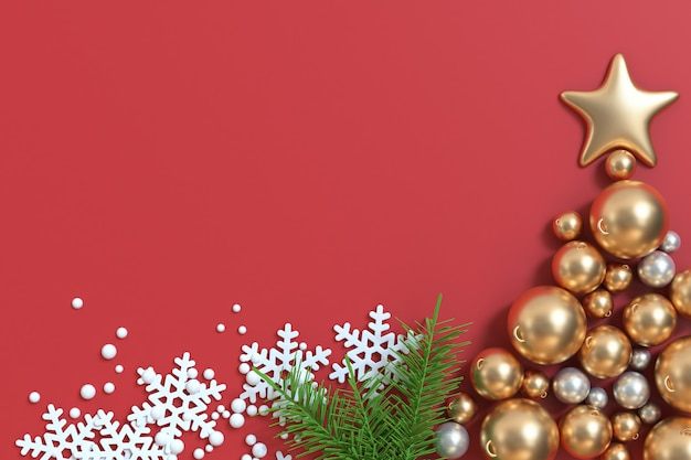 3d geef vele gouden kerstmis van de de ster rode vloer van de kerstmisbal, de vrije linkerkant van de het jaarwinter van vakantiekerstmis nieuwe terug