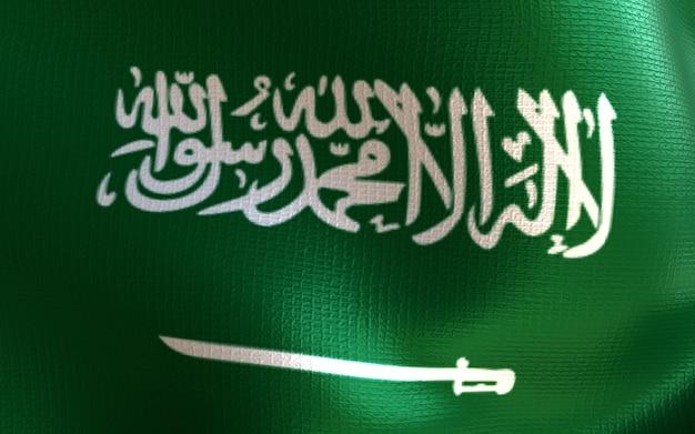 3d geef vlag van saoedi-arabië met textuur terug