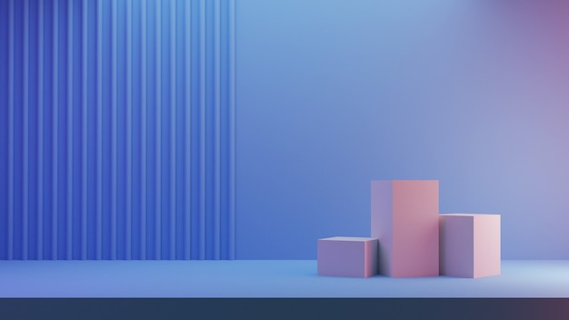3d geef voor winkeldisplay terug. drie podium blauwe blokjes in pastelkleuren en gestreepte achtergrond