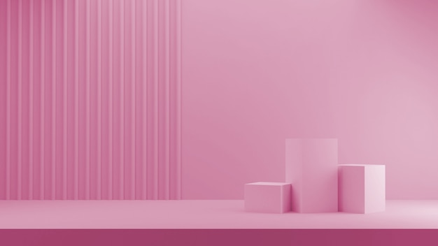 3d geef voor winkeldisplay terug. drie podium roze blokjes in pastelkleuren en gestreepte achtergrond.