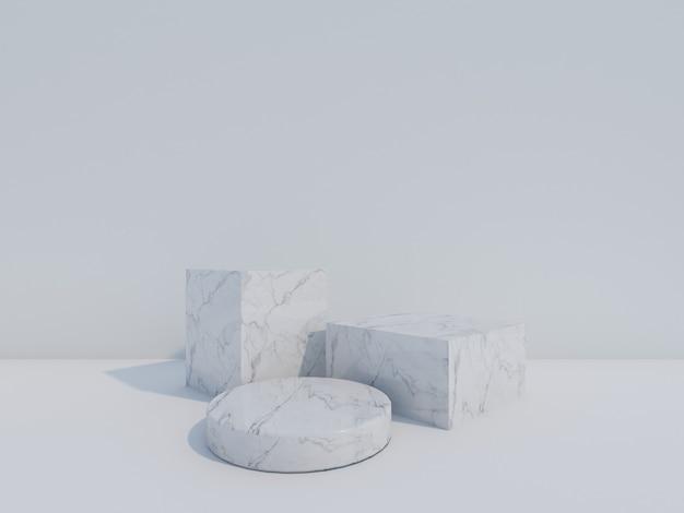 3d geef witte marmeren podia terug die op witte achtergrond worden geïsoleerd