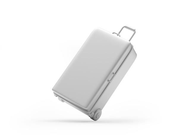3d geef zilveren koffer terug die op witte achtergrond wordt geïsoleerd