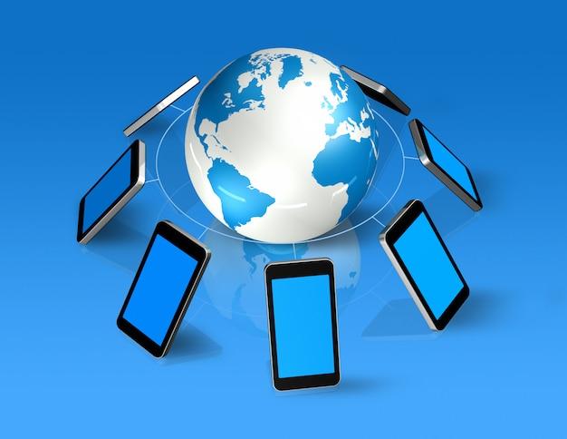 3d geïsoleerde mobiele telefoons rond een wereldbol