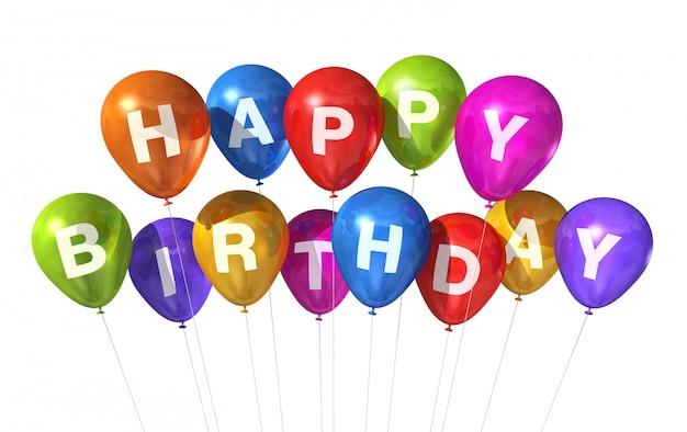 3d gekleurde gelukkige verjaardagsballons die op witte achtergrond worden geïsoleerd