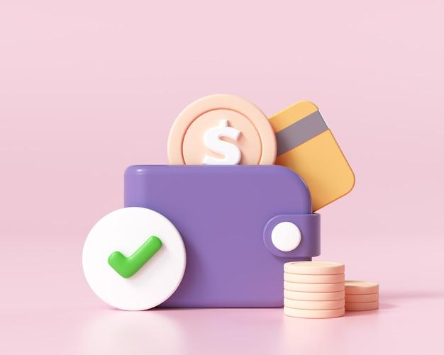 3d geld besparen pictogram concept. online betaling, portemonnee, muntenstapel en creditcard op roze achtergrond, 3d-renderingillustratie
