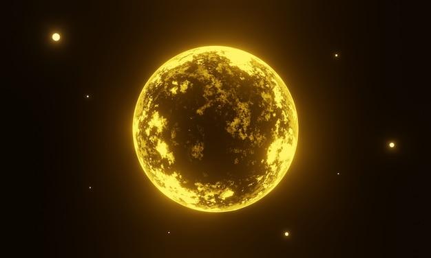 3d gele buitenaardse planeet