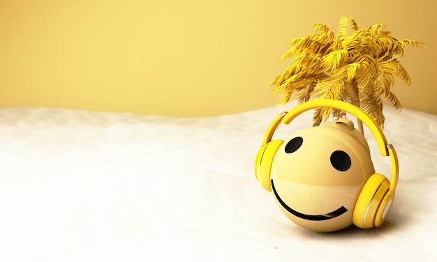3d gele emoji met hoofdtelefoons en palmboom