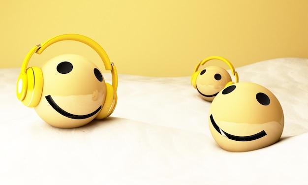 3d gele emoji's met koptelefoon