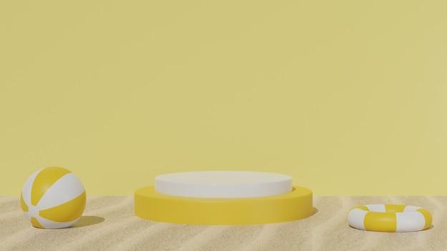 3d geometrisch podium voor de zomerachtergrond van de productvertoning