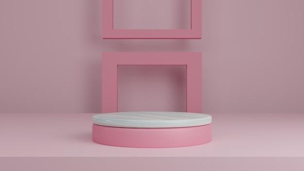 3d geometrisch roze podium voor product