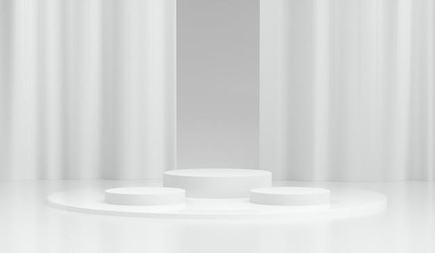 3d geometrisch wit podium voor productplaatsing met gordijn
