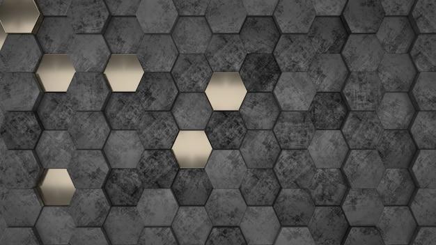 3d geometrische abstracte zeshoekige wallpaper achtergrond