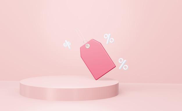 3d geometrische circulaire roze podium voor productplaatsing en rood label prijskaartje. 3d render.