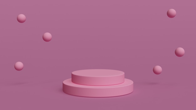 3d-geometrische ping-podiumvormen met roze achtergrond voor uw productplaatsing 3d weergegeven