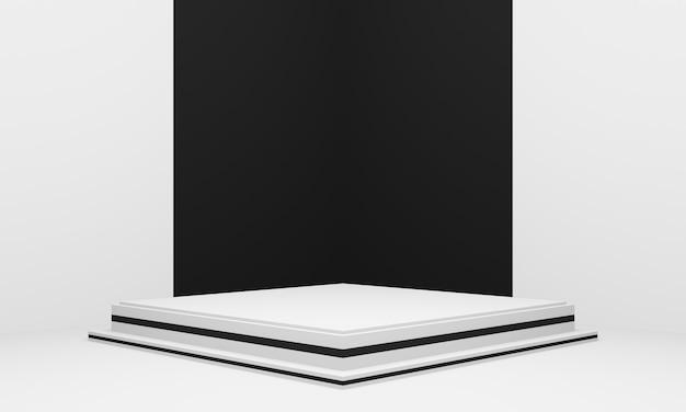3d-geometrische productstandaard zwart-witte hoekachtergrond