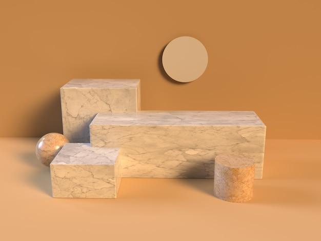 3d geometrische vorm marmer zonlicht render glanzend mat zon 3d podium weergave