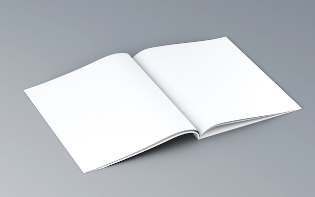 3d geopend magazine. mockup