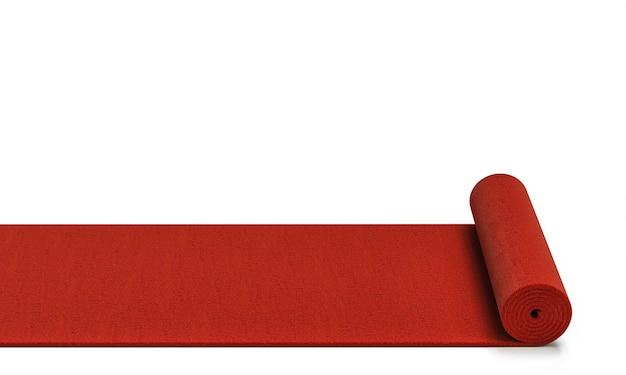 3d-gerenderde afbeelding van een rollende rode loper. begrip exclusiviteit.