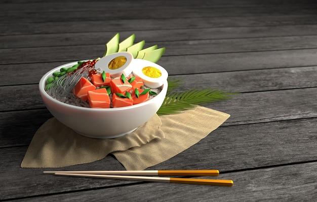 3d-gerenderde afbeelding van hawaiian poke bowl zalm vis poke bowl met rijst avocado ei ui bonen
