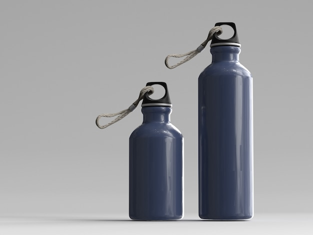 3d-gerenderde aluminium waterflessen