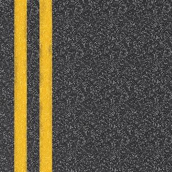 3d-gerenderde asfaltweg bovenaanzicht met gele lijnen