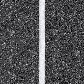 3d-gerenderde asfaltweg bovenaanzicht met witte lijn