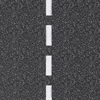 3d-gerenderde asfaltweg bovenaanzicht met witte stippellijn
