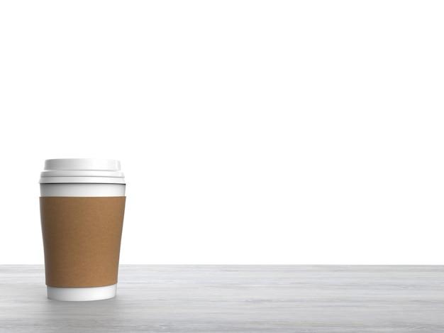 3d-gerenderde blanco papier koffiekopje op witte achtergrond