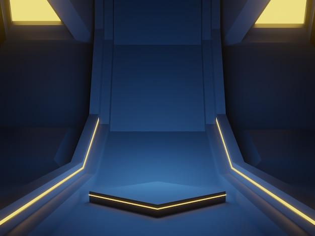3d-gerenderde blauwe cyberpodium. futuristische achtergrond.
