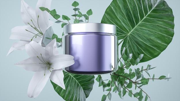 3d-gerenderde cosmetische glazen pompfles met natuurlijke achtergrond voor productweergave