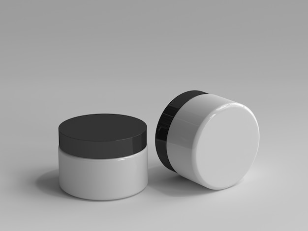 3d-gerenderde cosmetische pot zonder een etiket