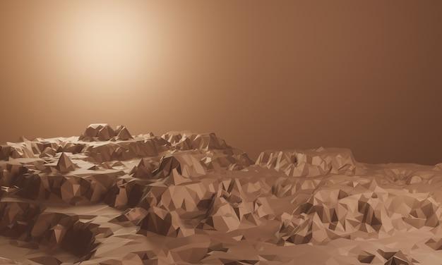 3d-gerenderde laag poly rock topografie. bruine stenen berg.