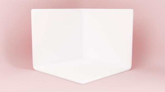 3d-gerenderde loopbrug. platforms voor productpresentatie, minimalistische mokap-compositie