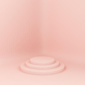 3d-gerenderde loopbrug. platforms voor productpresentatie, minimalistische mokapsamenstelling