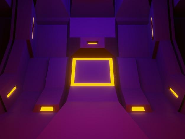 3d-gerenderde paarse ruimteschip kamer podium. futuristische achtergrond.
