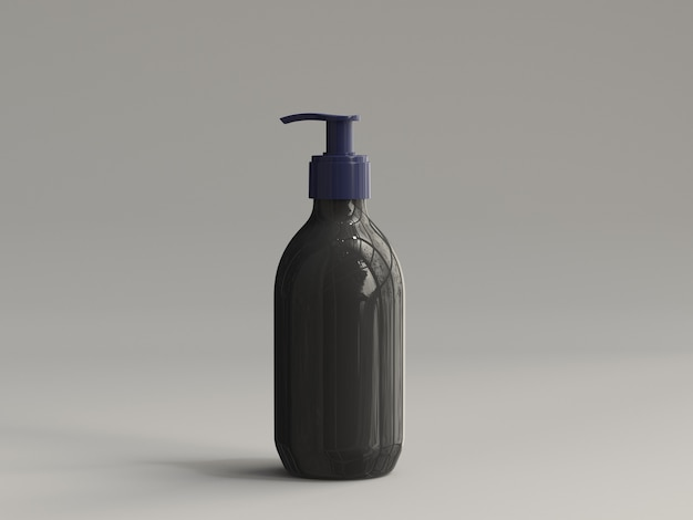 3d-gerenderde plastic pompfles zonder etiket - zwart