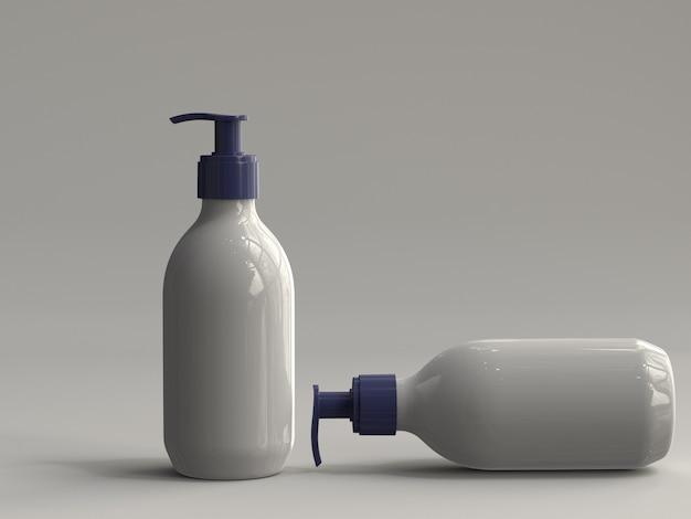 3d-gerenderde plastic pompflessen zonder etiket