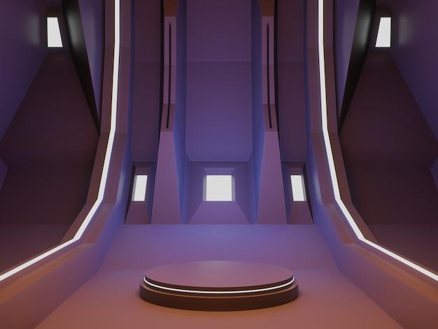 3d-gerenderde ruimteschip kamer podium futuristische achtergrond