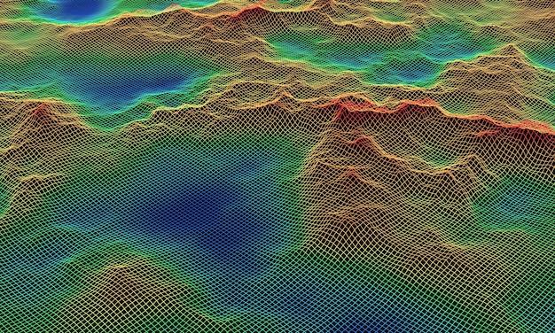 3d-gerenderde topografische draadframe. kleurniveau kaart.