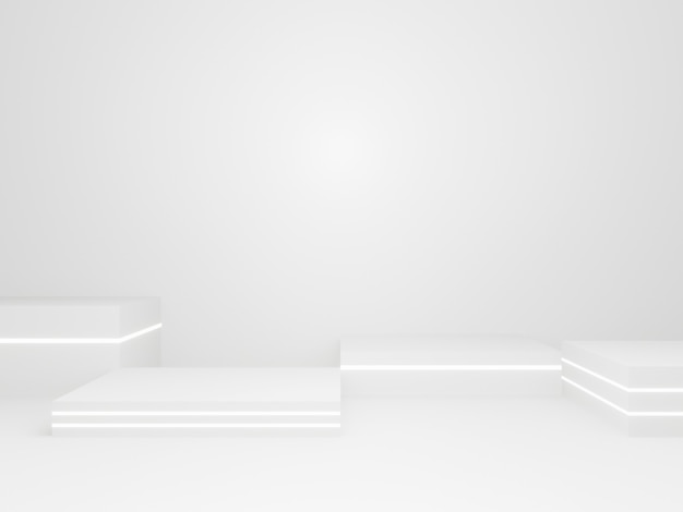 3d-gerenderde witte geometrische fase