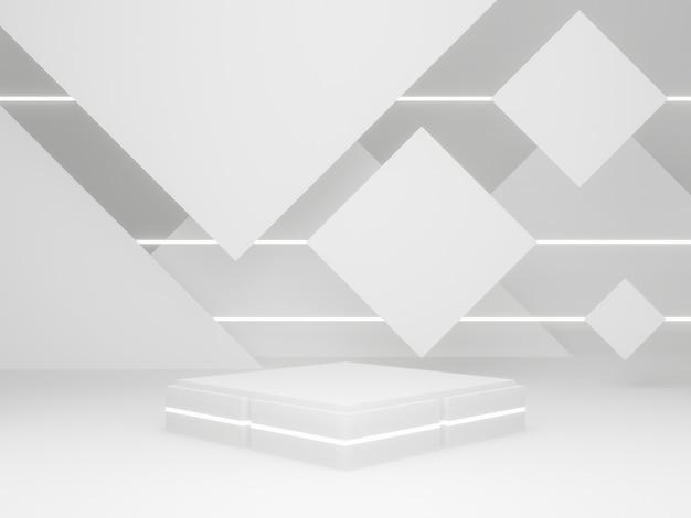 3d-gerenderde witte geometrische productstandaard.