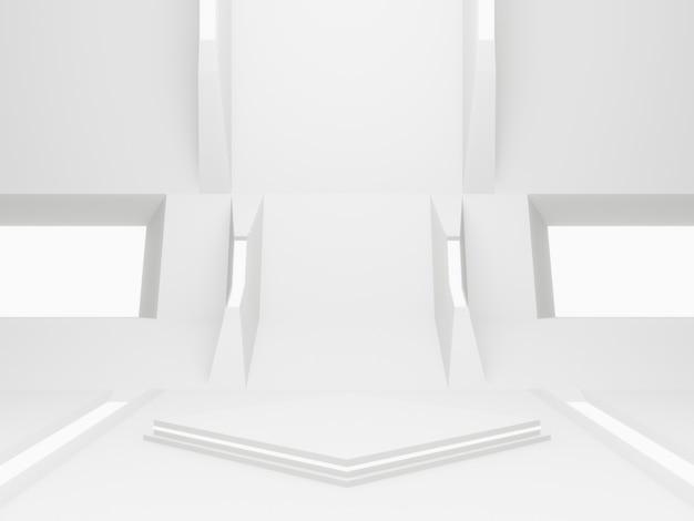3d-gerenderde witte ruimteschip kamer podium. futuristische achtergrond.