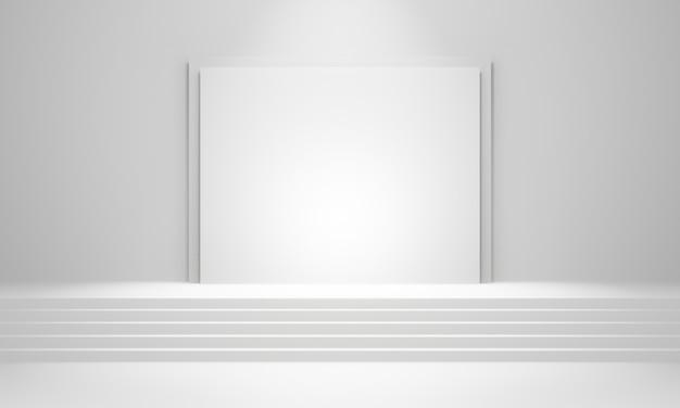 3d-gerenderde witte trap podium