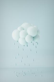 3d-gerenderde wolk met waterdruppels