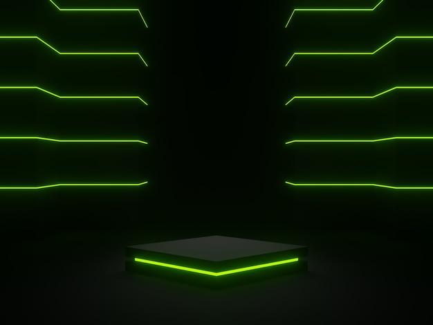 3d-gerenderde zwarte wetenschappelijke fase met groene neonlichten