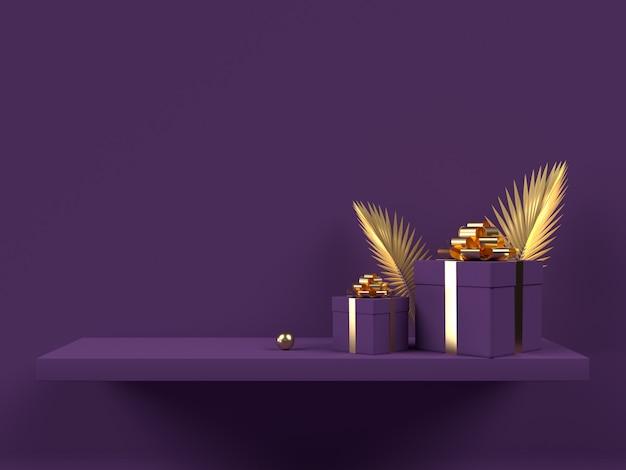 3d-geschenkdozen met gouden palmbladeren op violet wandplank.