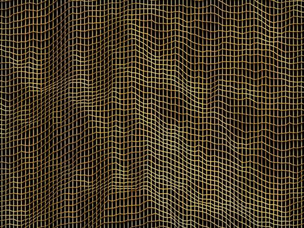 3d gesmolten abstracte gouden raster achtergrond